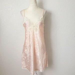 Vintage Pink Floral Lace Mini Sleep Slip Dress